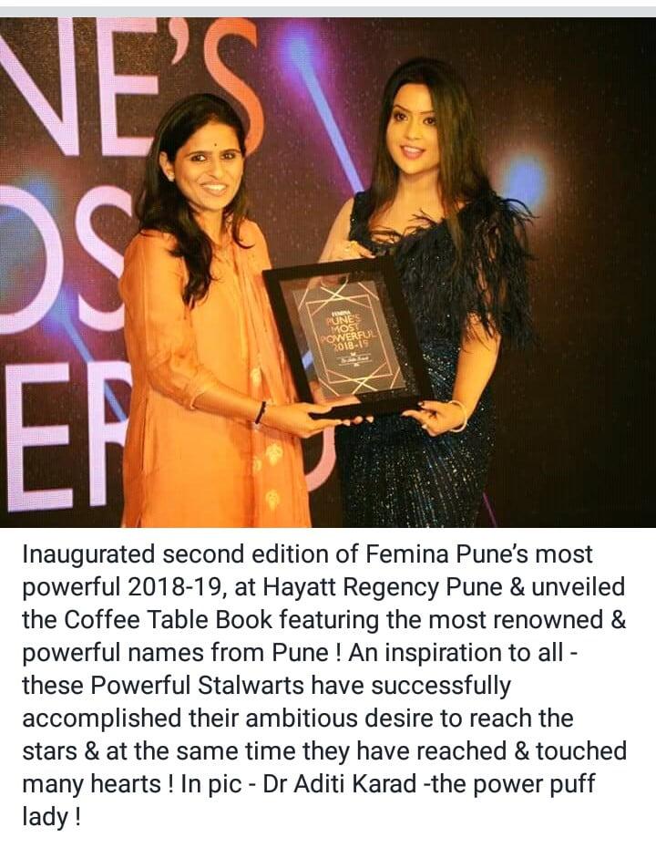 Dr Aditi Karad accepting her award from Amruta Devendra Fadnavis at 2nd Edition of Femina Pune's Most Powerful 2018-19 at Hyatt Regency Pune